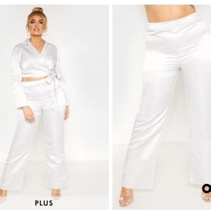 Plus Silver Satin Wide Leg Pants